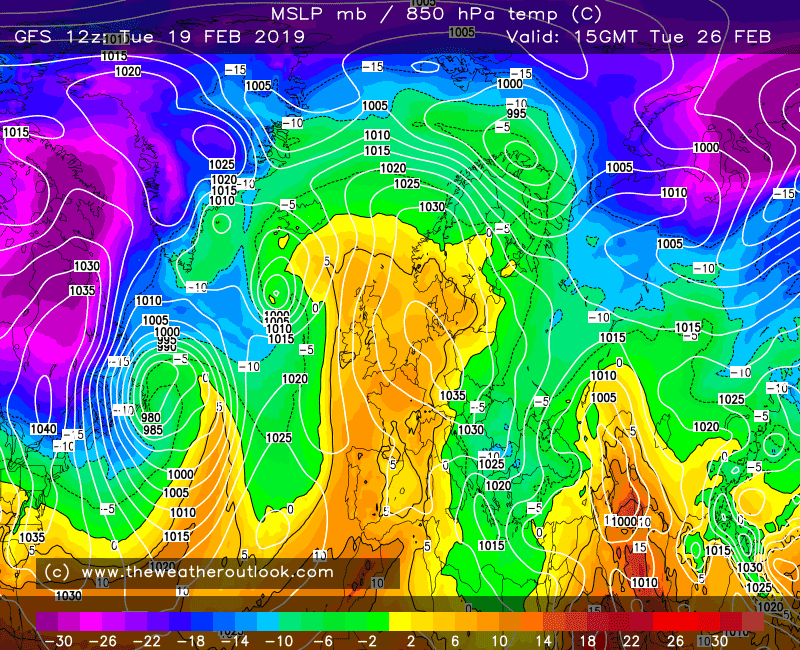 GFS forecast pressure and 850hPa temperatures