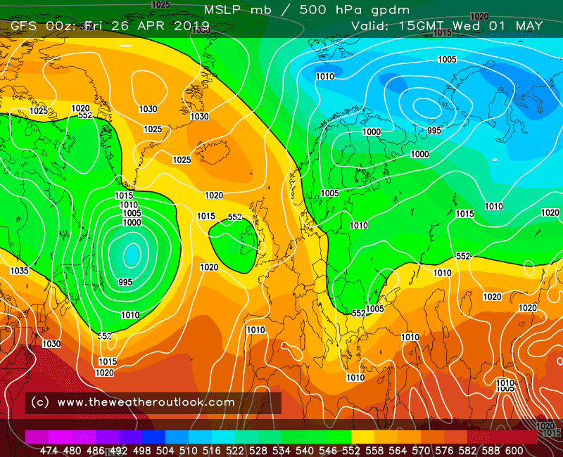 GFS forecast pressure and 500hPa heights