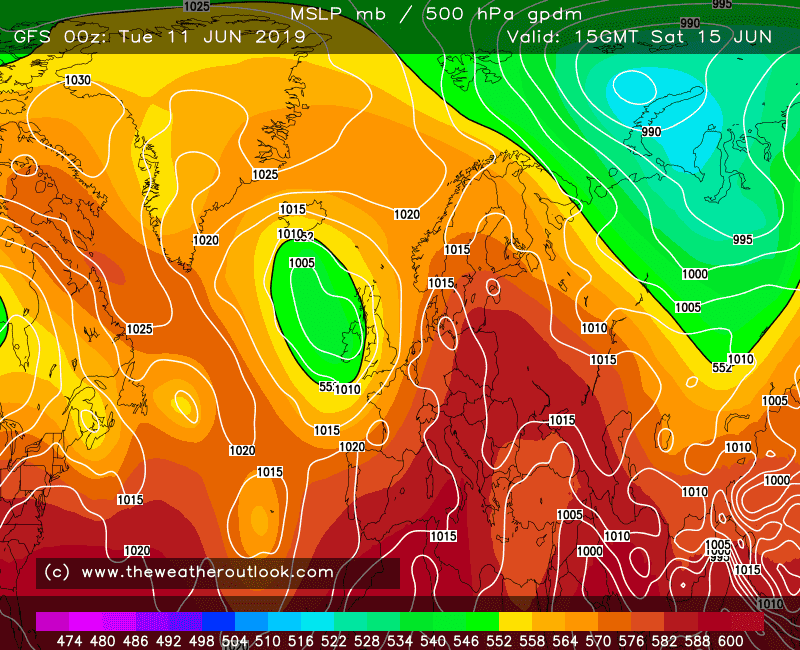 GFS forecast 500hPa heights and pressure