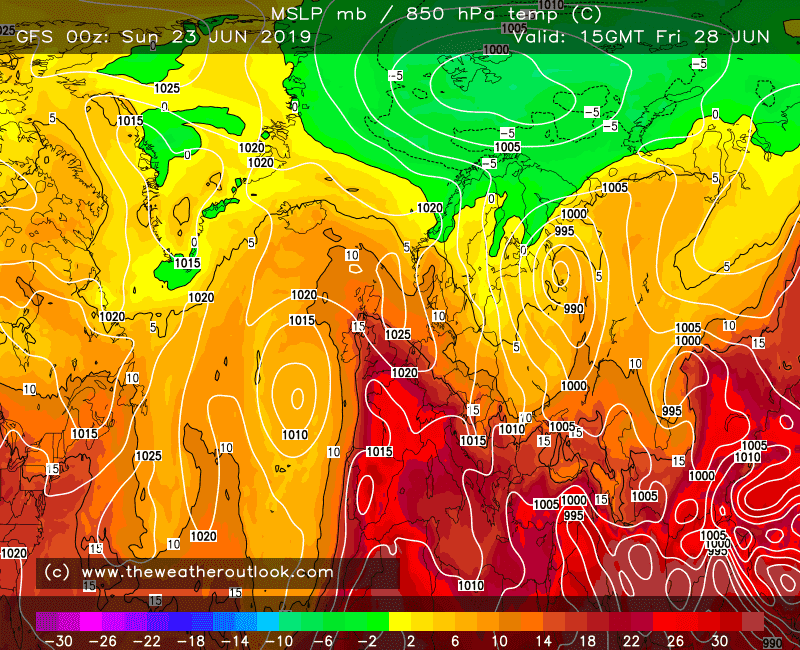 GFS forecast 850hPa temperatures