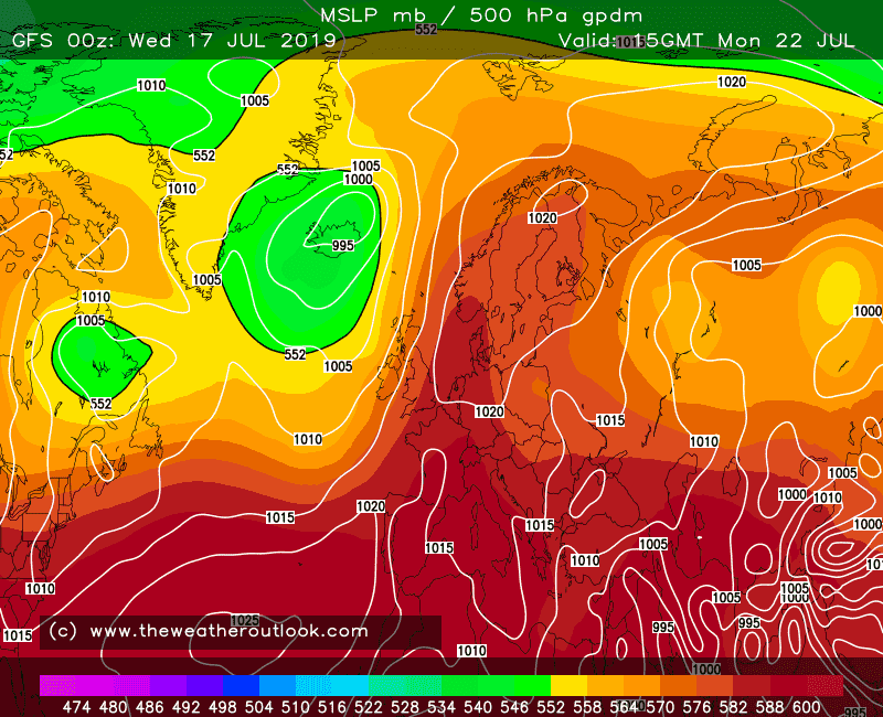 GFS forecast 500hPa heights