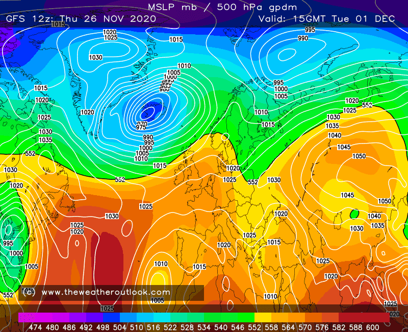 GFS surface pressure and precipitation chart