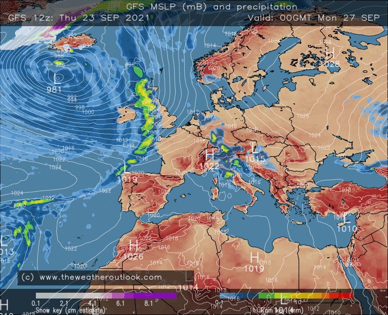 GFS surface pressure and precipitation chart