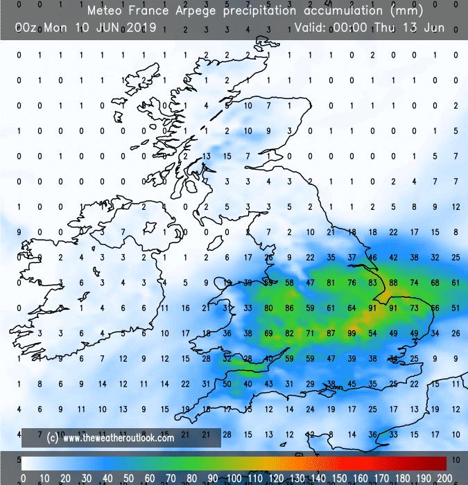 Arpege aggregate rainfall