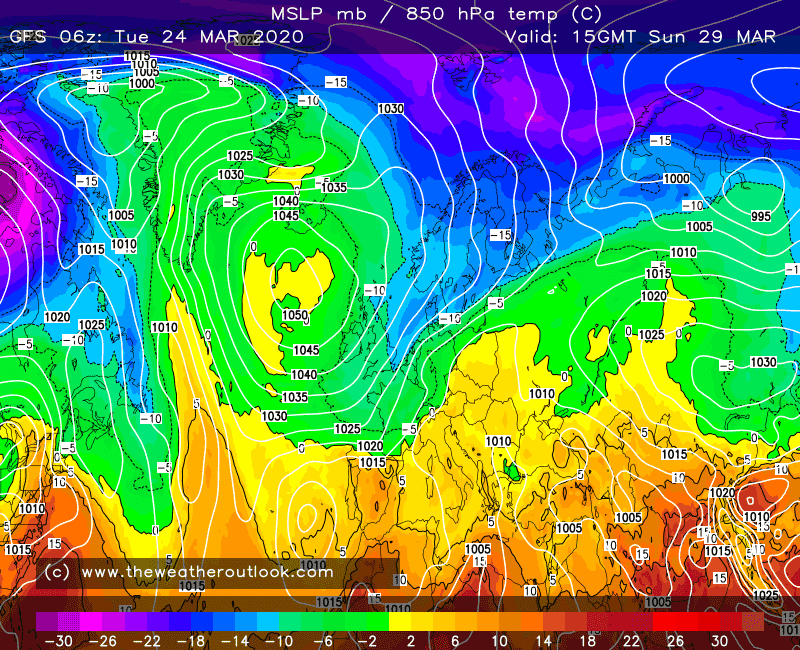 GFS 6z 850hPa temperature forecast, issued 24th March 2020