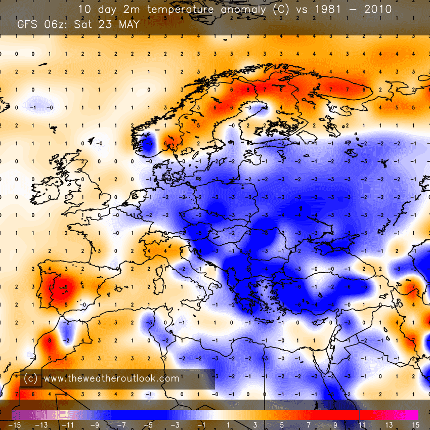 GFS 06z 10 day temperature anomaly