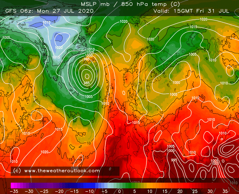 GFS 6z 850hPa temperatures, init 27th July 2020