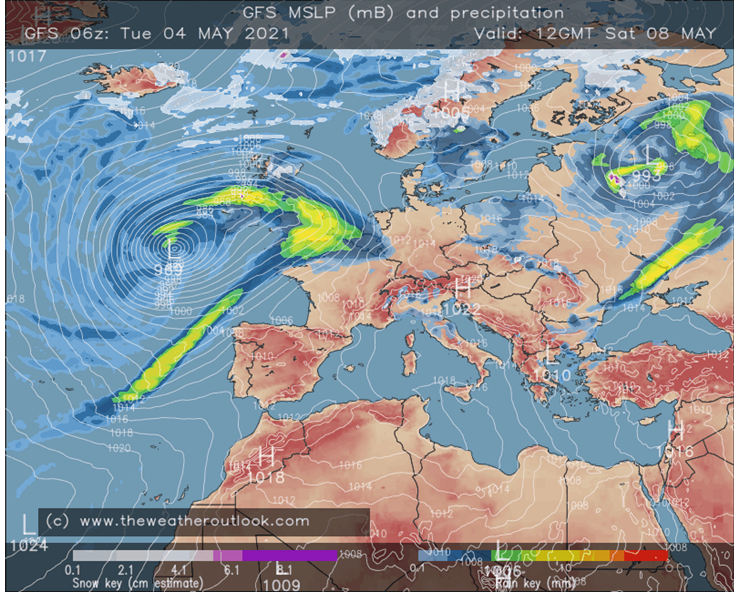 GFS 06z rain and pressure forecast for 8th May 2021