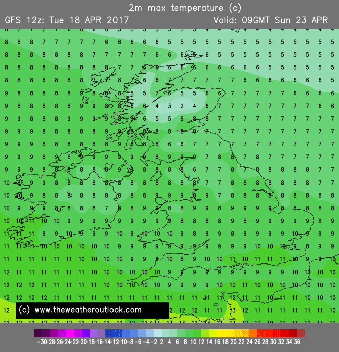 GEFS12z temperature forecast for London Marathon