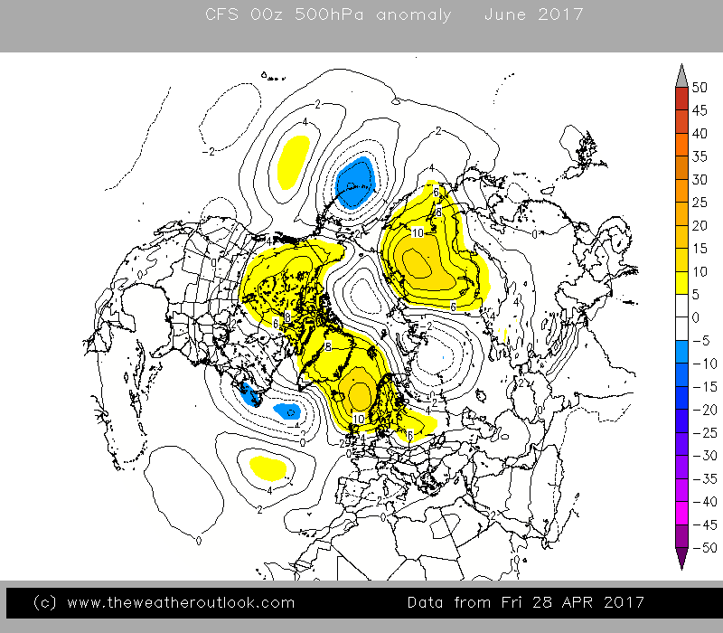 CFS v2 June 500hPa anomaly forecast
