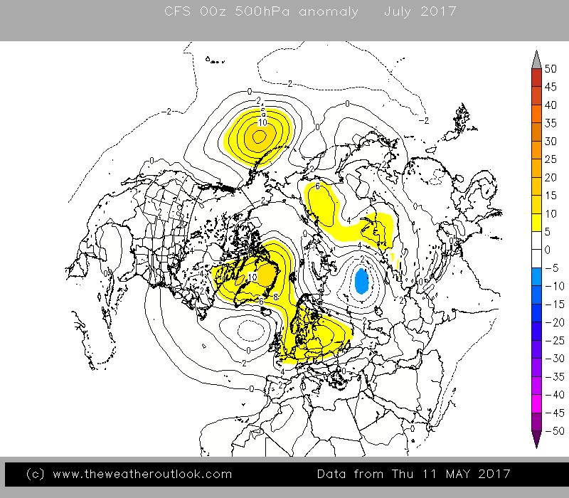CFS v2 July 500hPa anomaly chart