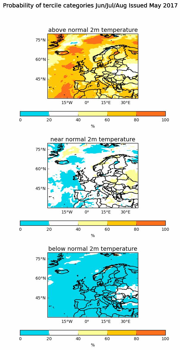 Met Office seasonal temperature anomaly chart