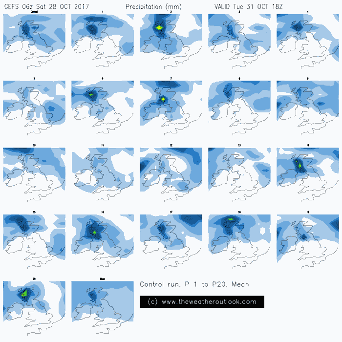 GEFS06z precipitation postage stamp plot for Halloween 2017