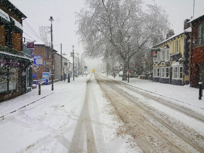 Berkhamsted High Street snow, December 2017