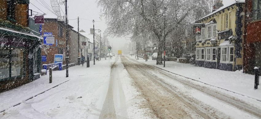 Berkhamsted High Street snow, December 2017