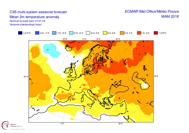 C3S multi system sesasonal forecast 2m temp anomaly