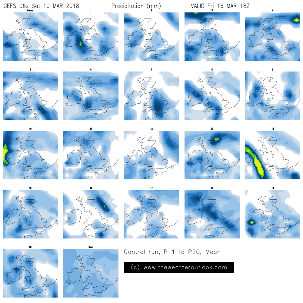 GEFS06 850hPa temperature postage stamp forecast chart
