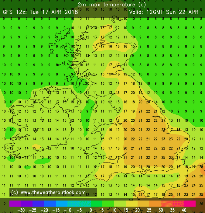GFS12z temperature forecast for London Marathon