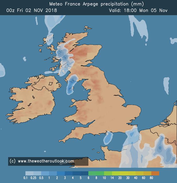 GFS precipitation forecast chart, Monday 5th November