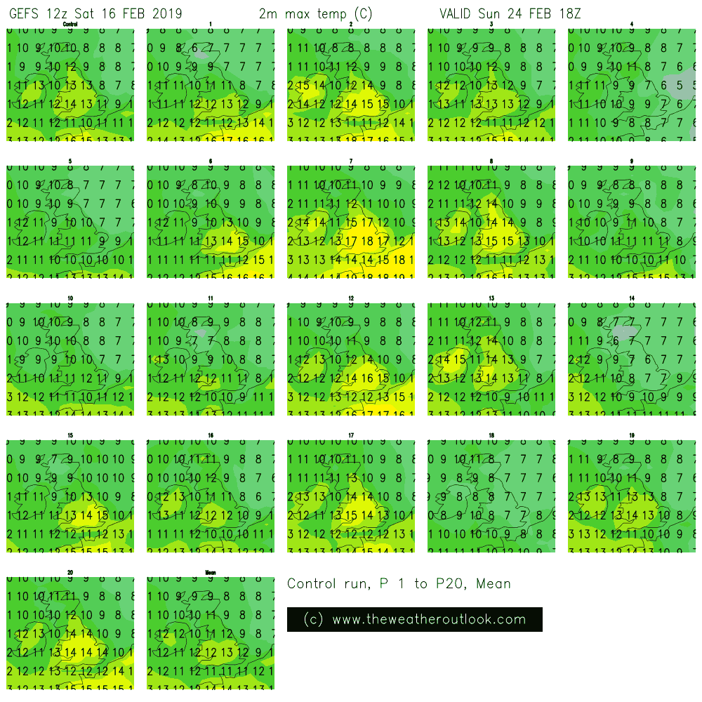 GEFS 12z postage stamps for February 24th 2019