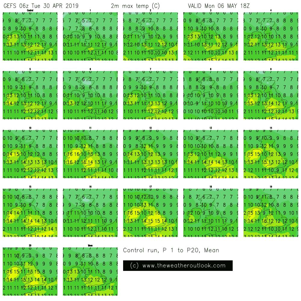 GEFS May Day maximum temperatures