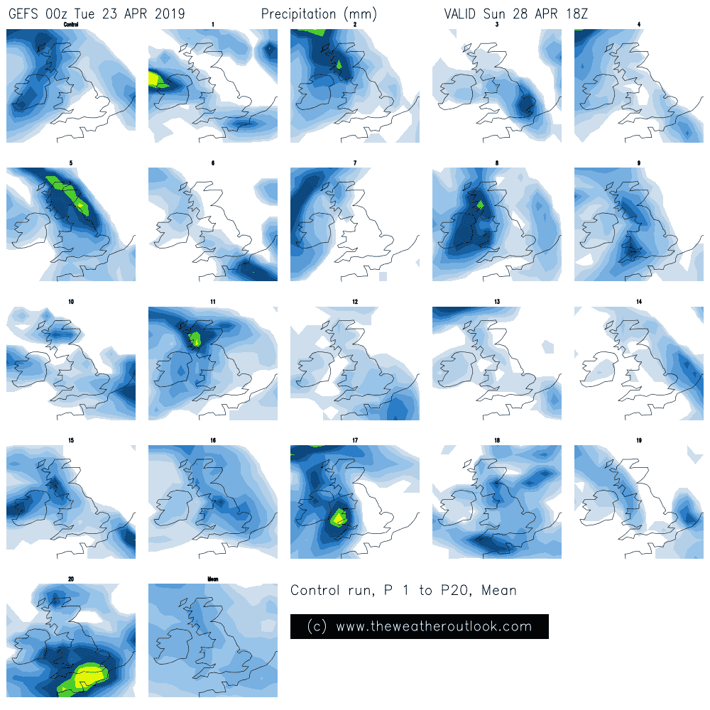 GEFS 06z rain forecast for London Marathon