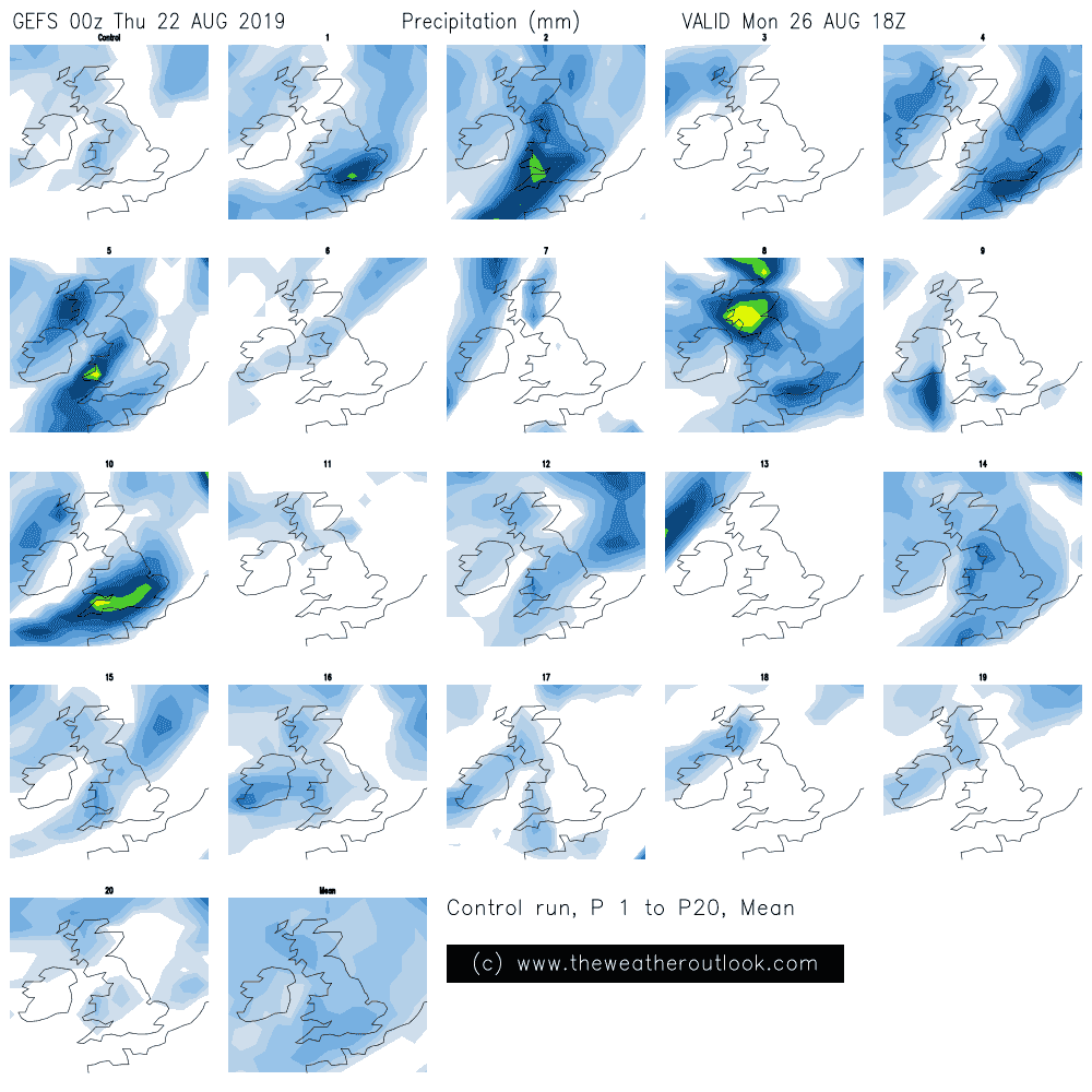 GEFS 00z rainfall postage stamp plot