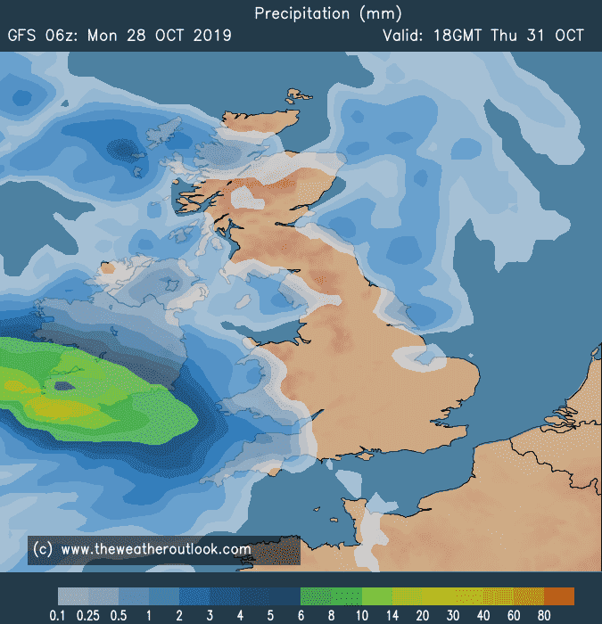 GFS 06z precipitation plot for Halloween 2019