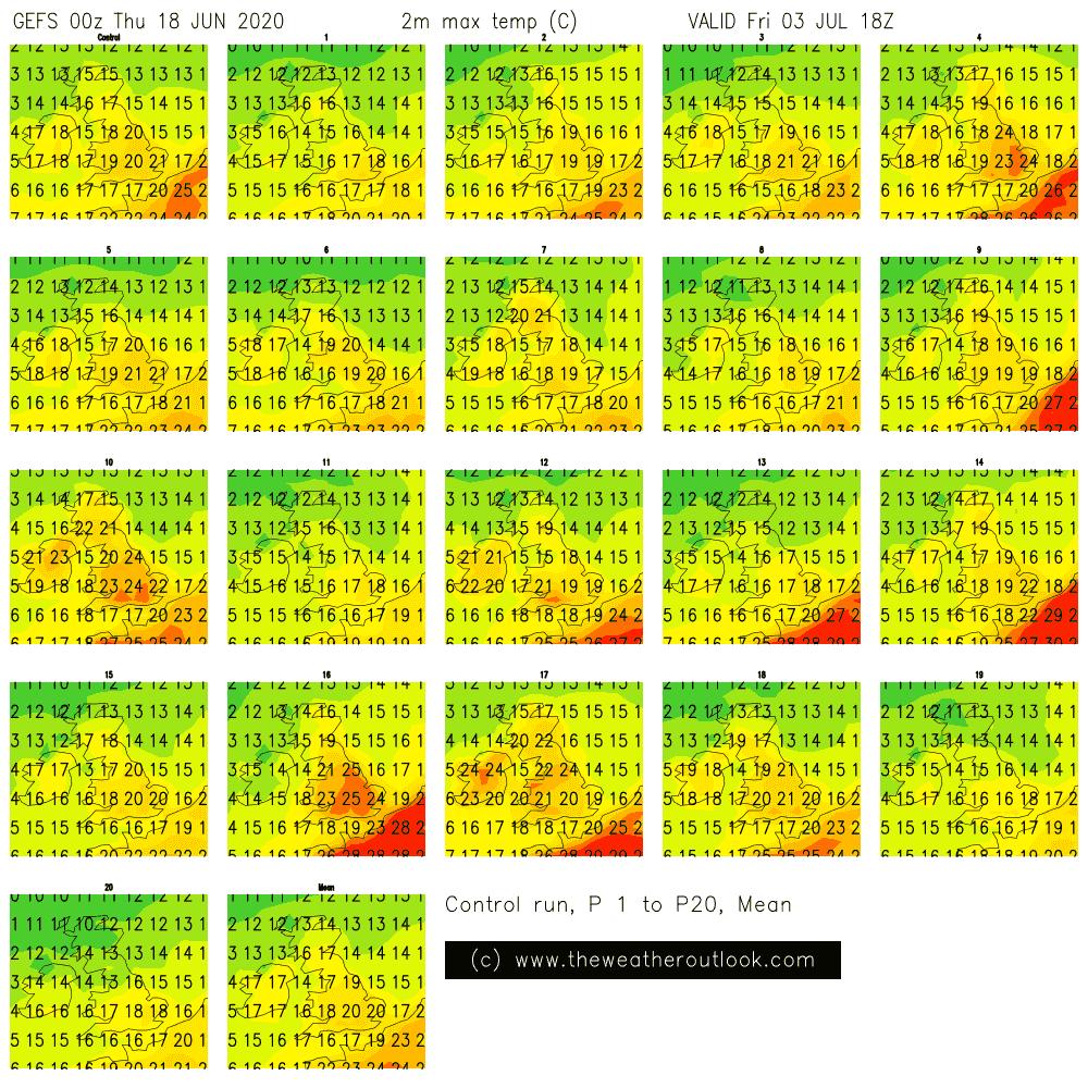 GEFS 00z postage stamp chart showing forecast temperatures