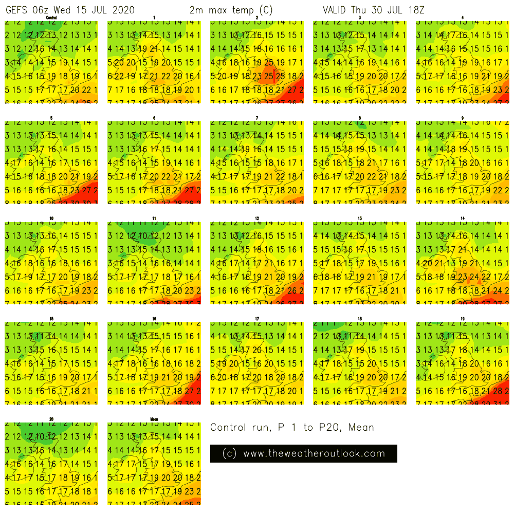 GEFS 06z postage stamp chart showing forecast temperatures