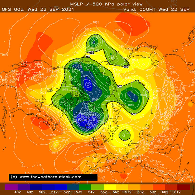 Northern hemisphere MSLP and 500hPa height chart example