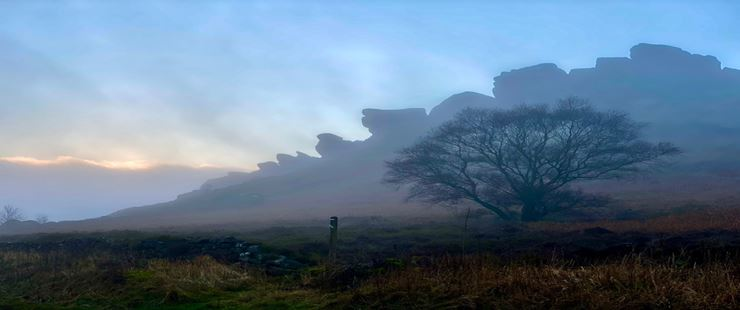 Fog slowly lifting over the Staffordshire moorlands, sent by toppiker60