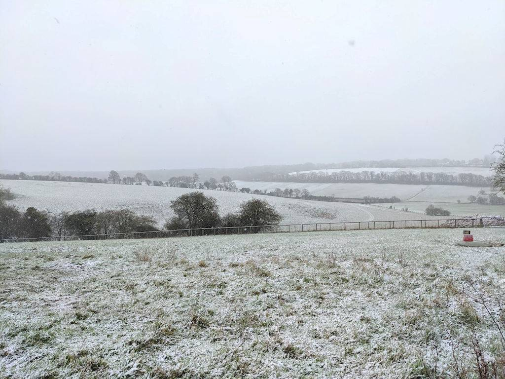 A sprinkling of snow in the Chilterns Berkhamsted, Hertfordshire,United Kingdom, sent by brian gaze