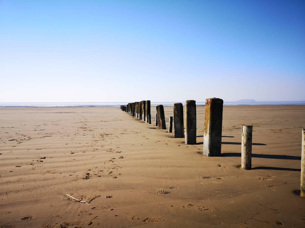 Berrow sands in the sunshine Burnham on sea, Somerset,UK, sent by glynnadams68