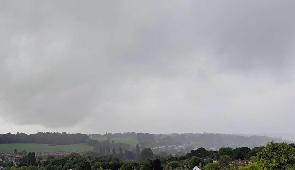 Heavy bursts of rain across the valley. Berkhamsted, Hertfordshire,United Kingdom, sent by brian gaze