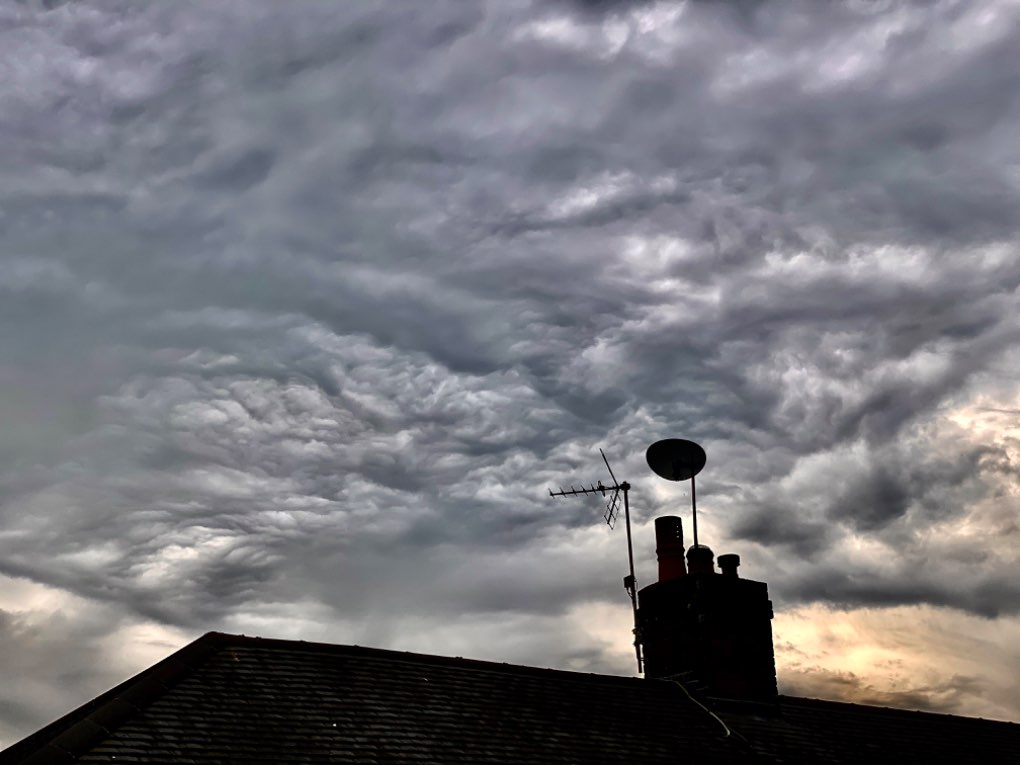 pretty clouds after the heat of the day. leek, staffordshire,uk, sent by toppiker60