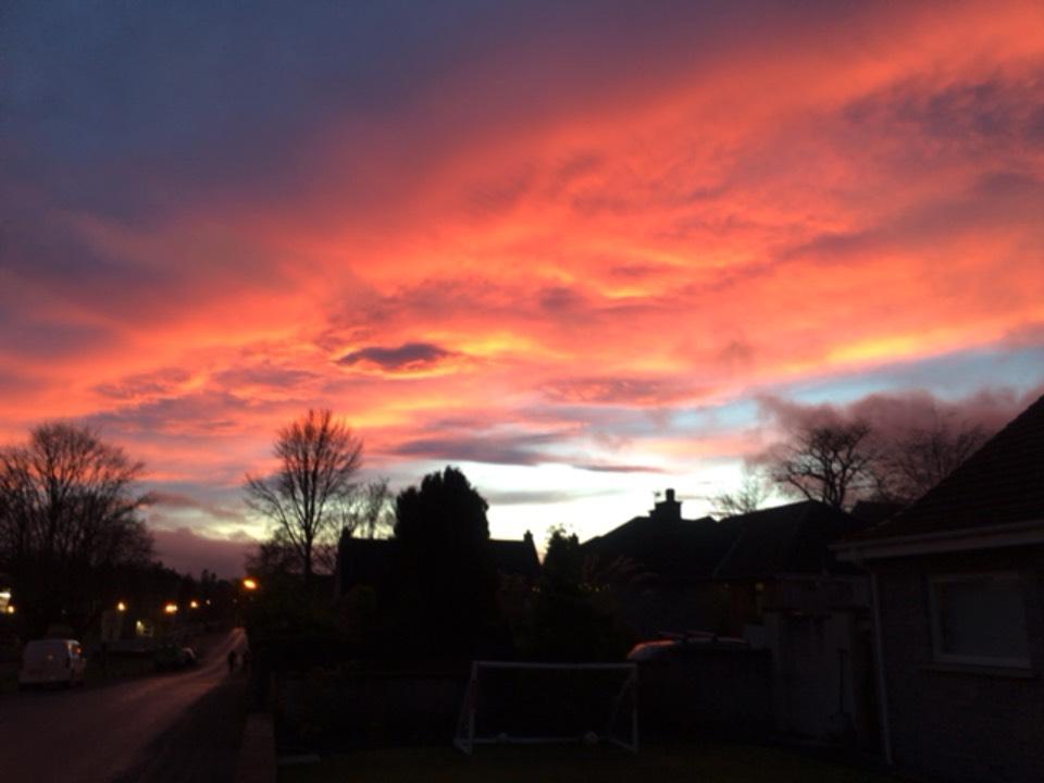 Sunset Grantown on Spey, Moray,Scotland, sent by dizzy daff
