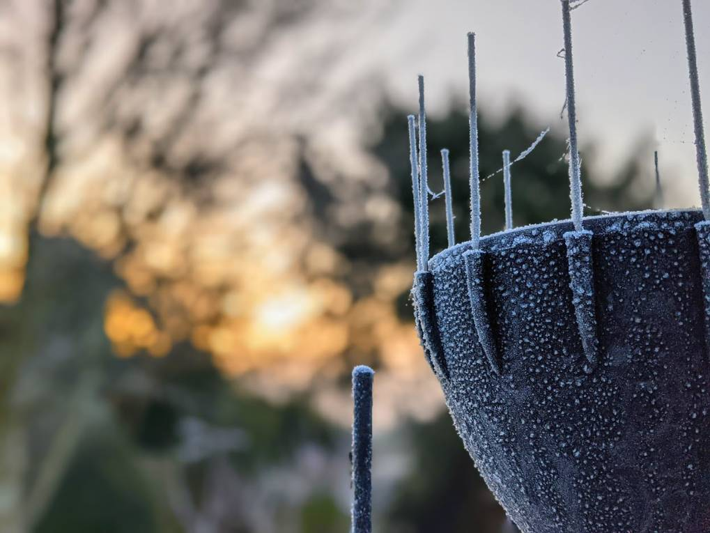 Frost on the weather station Berkhamsted, Herts,, sent by brian gaze