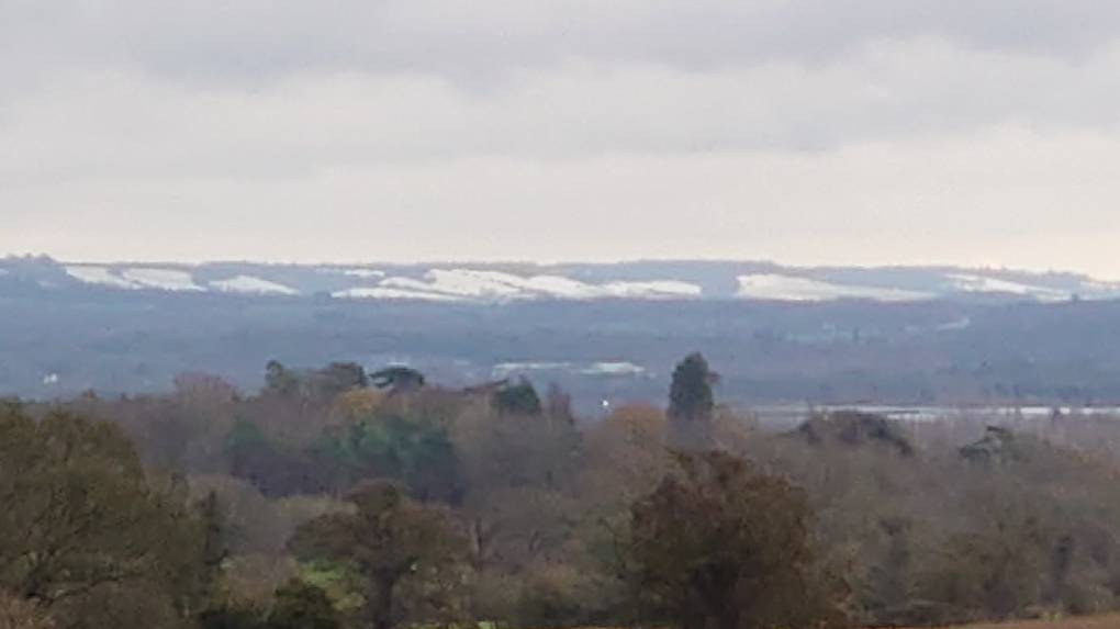 Snow over the North downs near Detling Ryarsh, Kent,England, sent by ktaylor
