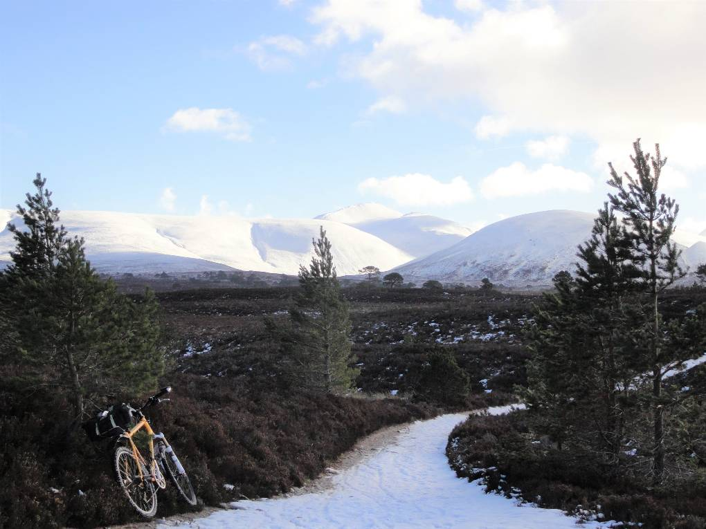 Pass of Ryvoan, Bynack More at centre, Cairngorm et al to R under cloud Aviemore, Strathspey,Scotland, sent by slowoldgit