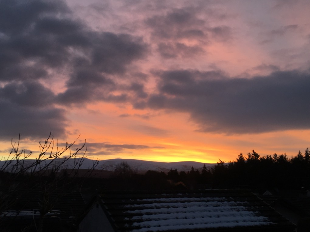 Sunrise Grantown on Spey, ,Scotland, sent by dizzy daff