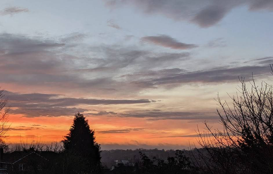 Red sky across the valley Berkhamsted, Herts,, sent by brian gaze