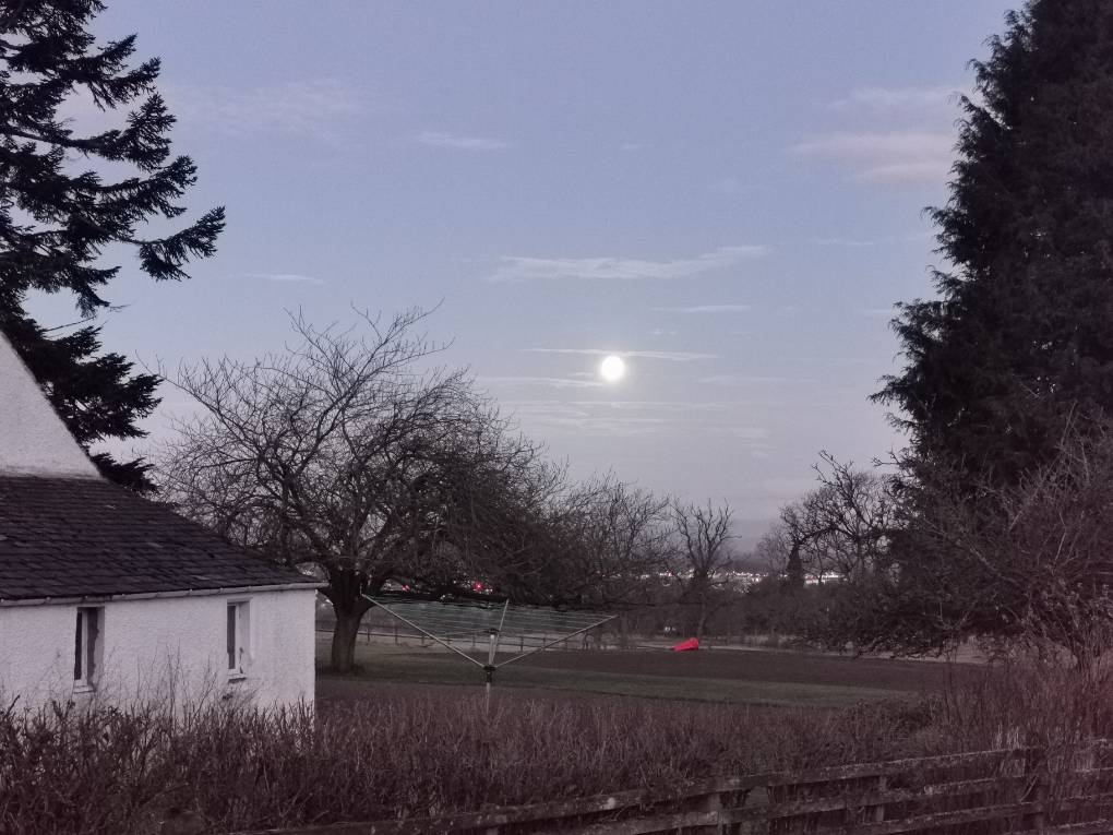 Full moon at dawn over Auchterarder Location name not provided. Near to lat:56.3 lon:-3.7, ,, sent by Uncle Ted
