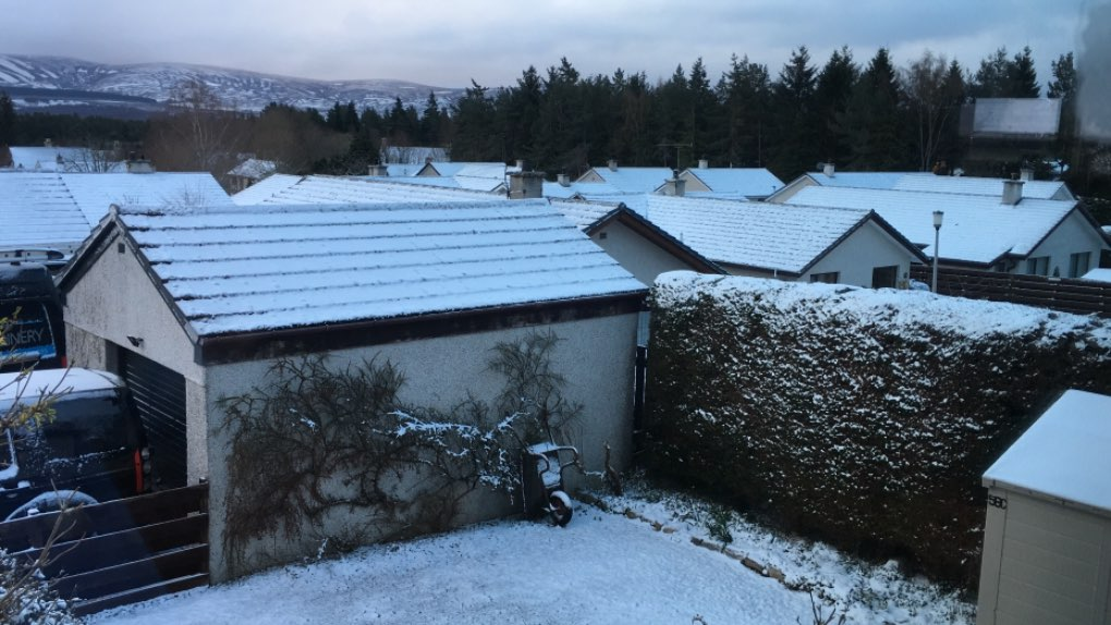 Skiff of snow overnight. Grantown on Spey, ,, sent by dizzy daff