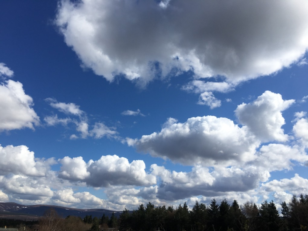 White puffy clouds! Location name not provided. Near to lat:57.3 lon:-3.6, ,, sent by dizzy daff