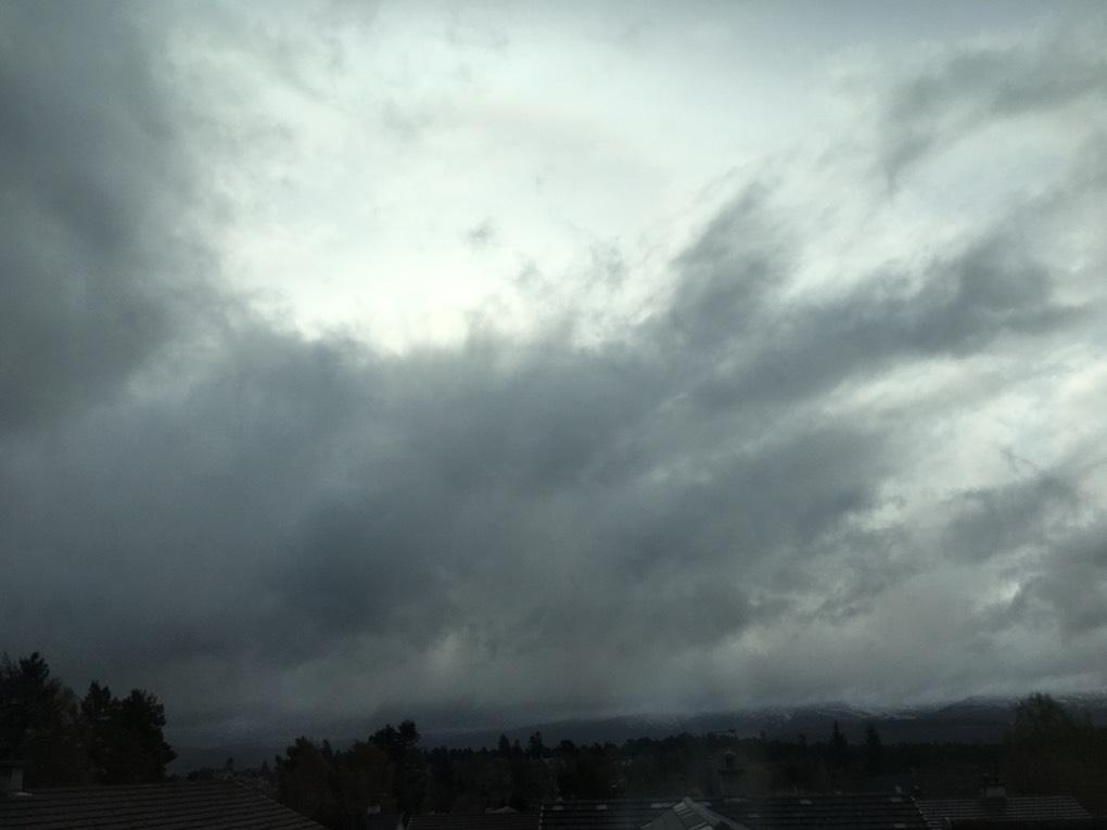 Rain approaching Grantown on Spey, ,, sent by dizzy daff