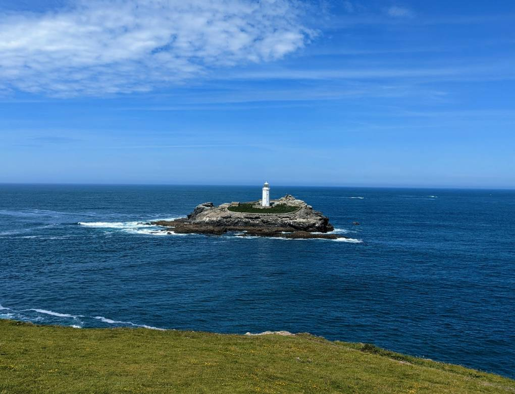 Godrevy Point lighthouse St Ives, Cornwall,, sent by brian gaze