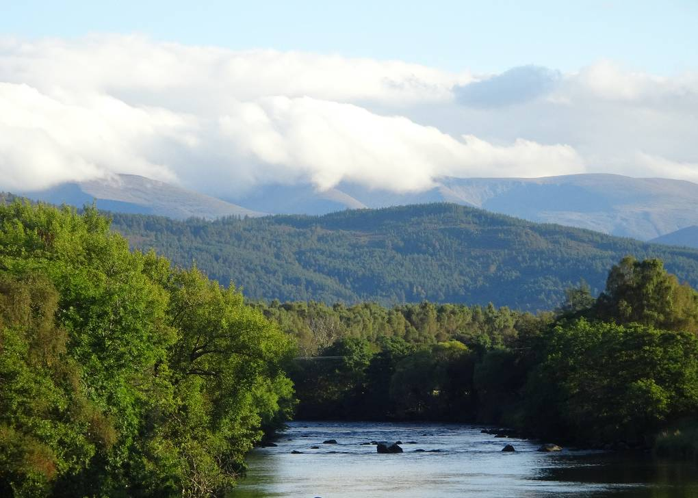 R Spey and cloud-covered Cairngorms from bridge at Boat of G. Boat of Garten, Strathspey,N Scotland, sent by slowoldgit